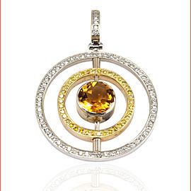 0.59 Carat Citrine and Diamond Two-Tone Pendant in 18 Karat Gold