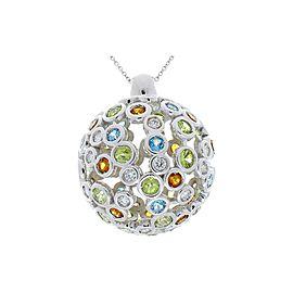 2.40 Carat Total Multi-Color Semi Precious Gemstones and Diamond Gold Pendant