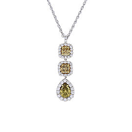 1.78 Carat Total Cushion Cut and Pear Shape Fancy Yellow Diamond in White Gold