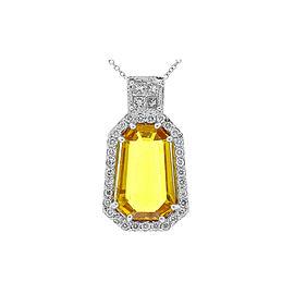 8.23 Carat Fantasy Cut Yellow Sapphire and Diamond Pendant in 18 Karat Gold