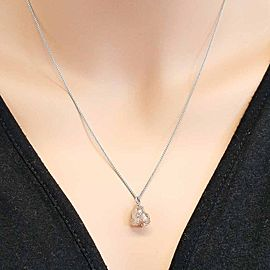 4.67 Carat Rough Diamond Pendant Necklace in 14 Karat White Gold