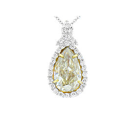 GIA Certified 2.53 Carat Pear Shape Fancy Light Yellow Two-Tone Diamond Pendant