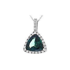 4.42 Carat Bluish Green Trillion Sapphire and Diamond Pendant in 18 Karat Gold