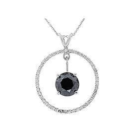 3.87 Carat Black Diamond Circle Pendant in 14 Karat White Gold