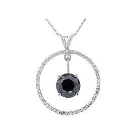 3.87 Carat Black Diamond Circle Pendant in 14 Karat White Gold