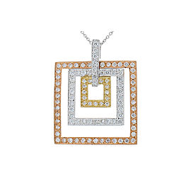 1.04 Carat Total Diamond Square Tri Tone Pendant in 14 Karat Gold