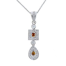 0.75 Carat Total Fancy Brown and White Diamond Pendant Necklace in 18 Karat Gold