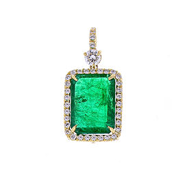 5.23 Carat Radiant Cut Emerald and Diamond Pendant in 18 Karat Yellow Gold