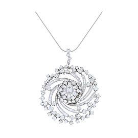 8.80 Carat Total Round and Baguette Diamond Pendant in Platinum