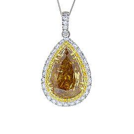 5.09 Carat Pear shape Fancy Brown Diamond Two Tone Pendant Necklace In 18K Gold