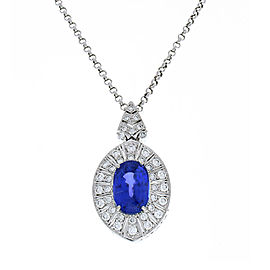 AGL Certified 12.62 Carat Marquise Blue Sapphire and Diamond Pendant in Platinum