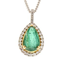 11.40 Carat Pear Shape Emerald and Diamond Pendant in 18 Karat Gold
