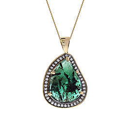 11.60 Carat Carved Emerald and Diamond Necklace Pendant in 18 Karat Yellow Gold