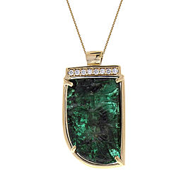 15.00 Carat Total Carved Emerald and Diamond Pendant Necklace in 18 Karat Gold