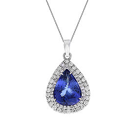9.45 Carat Pear Shape Tanzanite and Diamond Pendant Necklace in 18 Karat Gold