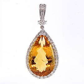 13.62 Carat Pear Shape Citrine and Diamond Pendant in 18 Karat White Gold