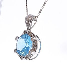 6.05 Carat Swiss Blue Topaz and Diamond Pendant Necklace in 14 Karat White Gold