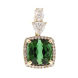 GIA Certified 5.52 Carat Cushion Cut Tourmaline and Diamond Pendant in 18 K Gold