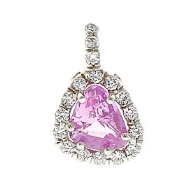 0.77 Carat Trillion Pink Sapphire and Diamond Pendant Necklace in 18 Karat Gold