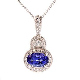 2.01 Carat Oval Tanzanite and Diamond Pendant Necklace in 18 Karat White Gold