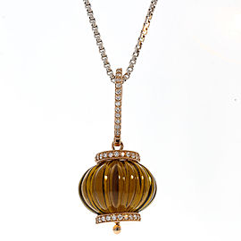 60 Carat Smoky Quartz Gemstone and Diamond Pendant Necklace in 14 Karat Gold