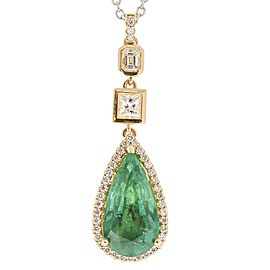 6.00 Carat Pear Shape Emerald and Diamond