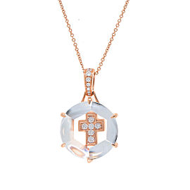 14k Pg Diamond Cross Pendant With Chain