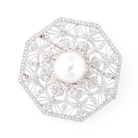 Tara 18k White Gold With 16x17mm Natural Color White South Sea Cultured Pearl and 2.61tcw G-H/VS Diamond Filigree Pin.