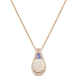 14k Rose Gold Opal Pendant Necklace
