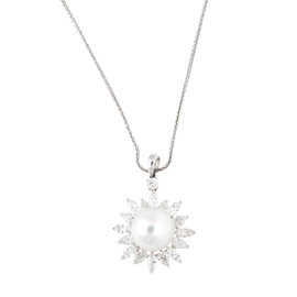 Tara 18k White Gold With 15x16mm Natural Color White South Sea Cultured Pearl and 4.41ct GH / SI Multi Shape Diamond Wheat Chain Necklace