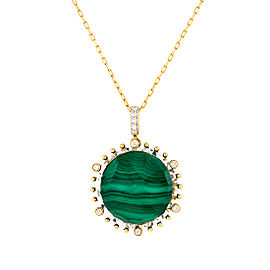 18k Yg Medium Round Malachite, Crystal and Diamond on 6 Prongs and on Bale Tivoli Pendant With Chain