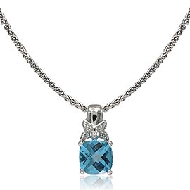 14k White Gold Swiss Blue Topaz Pendant Necklace