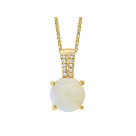 14k Yellow Gold Opal Pendant Necklace
