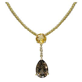 14k Yellow Gold Smoky Quartz Pendant Necklace