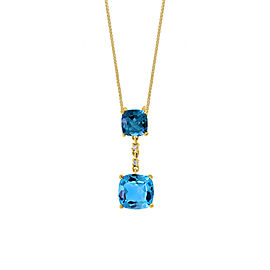 14k Yellow Gold Swiss Blue Topaz Pendant Necklace