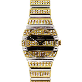 Piaget Polo 861C 18k Yellow Gold Black Onyx and Diamonds 23.5mm Watch