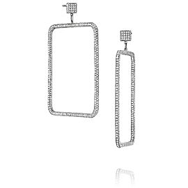 Piece Square Diamond Dangle Earrings