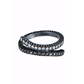 Yossi Harari Jewelry Lilah Oxidized Gilver Black & White Diamond Crisscross Ring Size 6