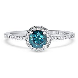 Round Blue Diamond Ring