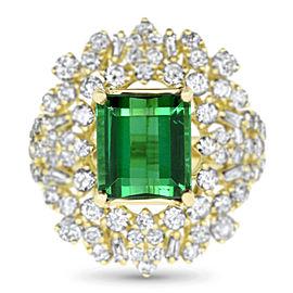 Emerald Cut Green Tourmaline Ring