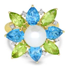 Flower Pearl & Gemstone Ring
