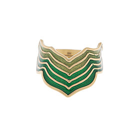 18K Yellow Gold with Green Enamel Ring