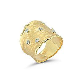 14 Karat White Gold Matte and Hammer-finished Ring