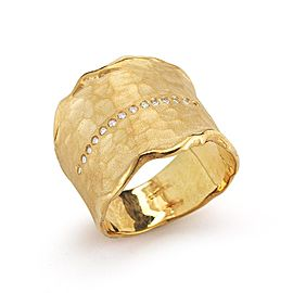 14 Karat Yellow Gold Matte and Hammer-finish Cuff Ring