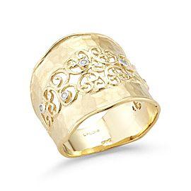 14 Karat Yellow Gold Matte and Hammer-finish Filigree Cuff Ring
