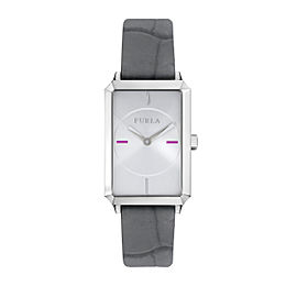 Furla Women's Diana Silver Dial Calfskin Leather Watch