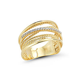 I.Reiss Matte Hammered And Polished-finish Twisted Rope Arch Ring
