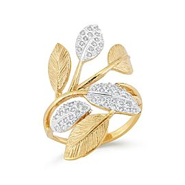 14 Karat Yellow Gold Matte and Textured Leaf Ring