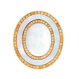 18k Yg Double Oval White Mop and Yellow Sapphire Tivoli Ii Ring