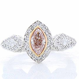 GIA Certified 0.73 Carat Natural Pink Marquise Diamond Cocktail Platinum Ring